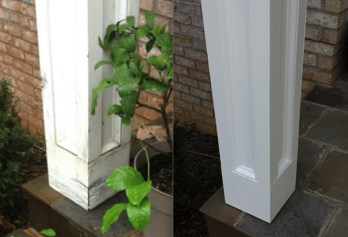 Wood rot before and after