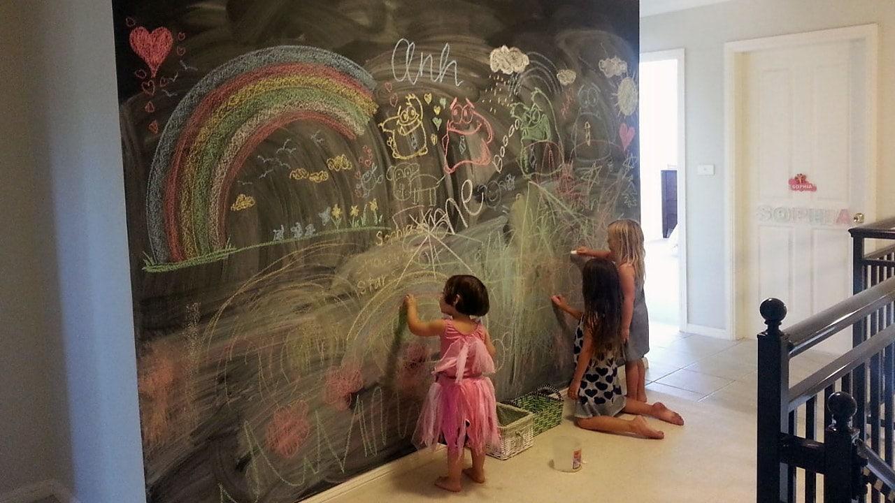 Kids painting in wall